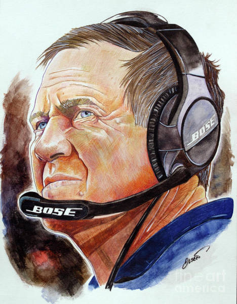Super Bowl Drawing - Bill Belichick by Dave Olsen