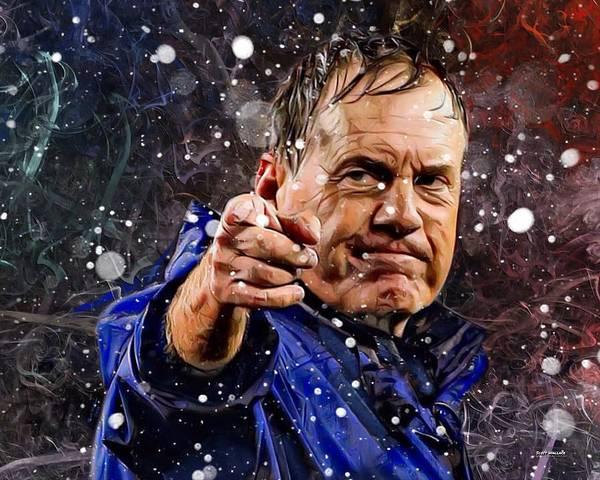 Digital Art - Bill Belichick In Snow  by Scott Wallace Digital Designs