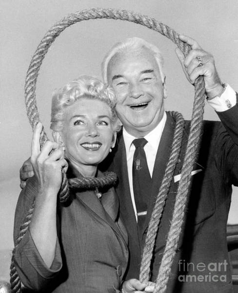 Boyd Photograph - Bill Boyd And His Wife Displaying Horseshoe Of Rope Aboard Ship. 1958. by Barney Stein