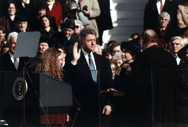 Democratic Party Photograph - Bill Clinton Taking Oath - 1993 by War Is Hell Store