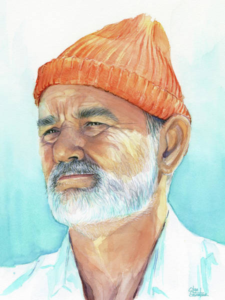 Watercolor Painting - Bill Murray Steve Zissou Life Aquatic by Olga Shvartsur
