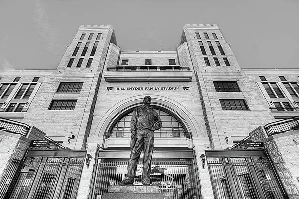 Kansas State University Photograph - Bill Snyder Family Stadium In Black And White by JC Findley