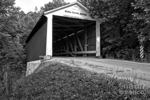 Village Creek Photograph - Billie Creek Covered Bridge Black And White by Adam Jewell