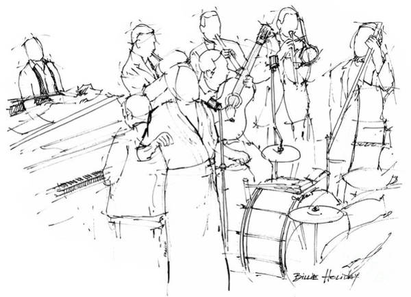 Wall Art - Drawing - Billie Holiday Band Awesome Jazz Singer by Drawspots Illustrations