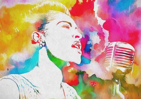Wall Art - Painting - Billie Holiday Color Tribute by Dan Sproul