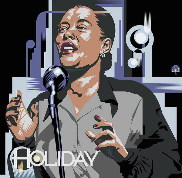 Cool Jazz Digital Art - Billie Holiday In Black And Grey by Garth Glazier