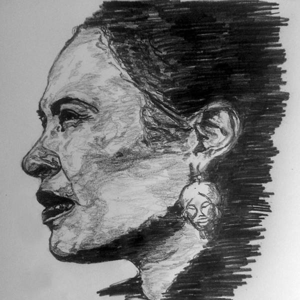 Black Drawing - Billie Holiday by Rachel Natalie Rawlins