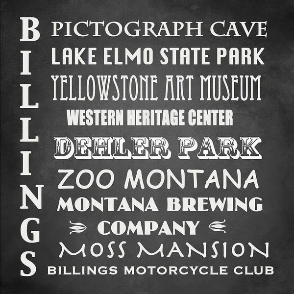 Moss Digital Art - Billings Famous Landmarks by Patricia Lintner