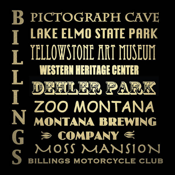 Moss Digital Art - Billings Montana Famous Landmarks by Patricia Lintner