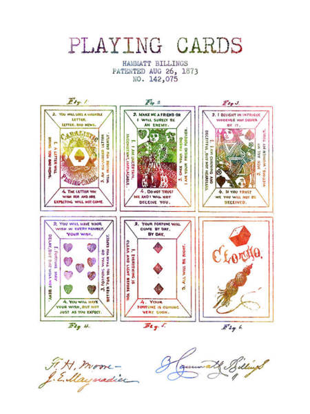 Playing Digital Art - Billings Playing Cards Patent Drawing From 1873 -rainbow by Aged Pixel