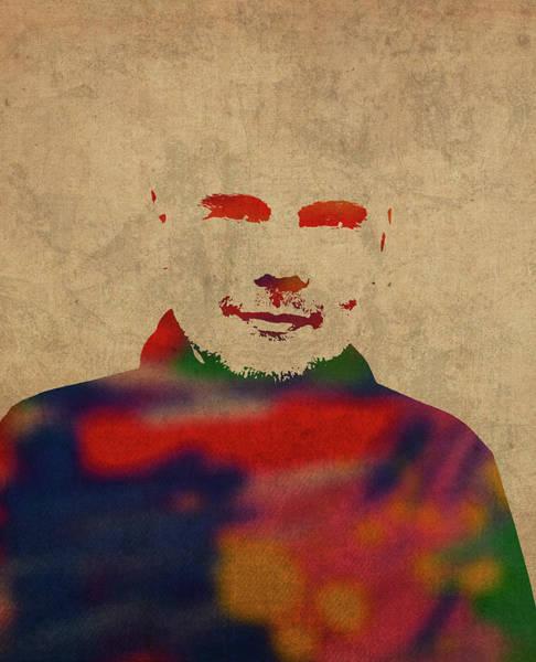 Wall Art - Mixed Media - Billy Corgan Smashing Pumpkins Watercolor Portrait by Design Turnpike