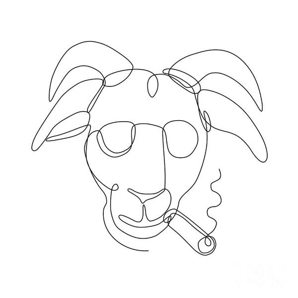 Wall Art - Digital Art - Billy Goat Wearing Sunglasses Cigar Continuous Line by Aloysius Patrimonio