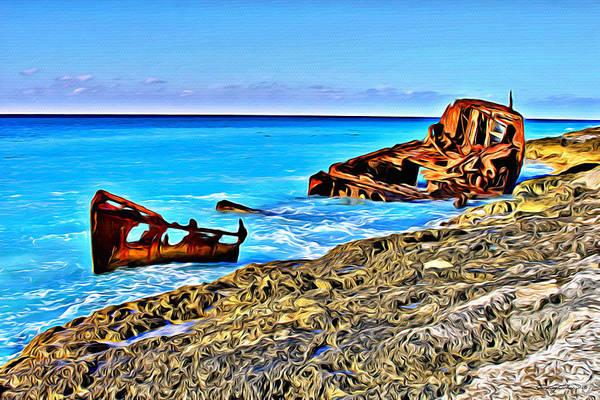 Bahamas Digital Art - Bimini Wreck by Anthony C Chen