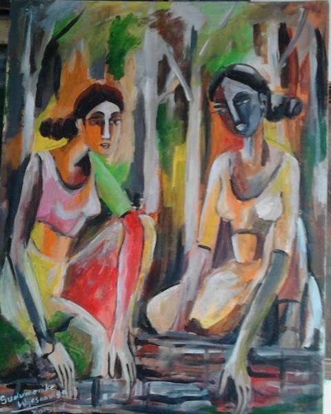 Wall Art - Painting - Binding Firewood by Sudumenike Wijesooriya