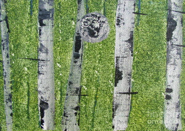 Painting - Birch - Green 3 by Jacqueline Athmann