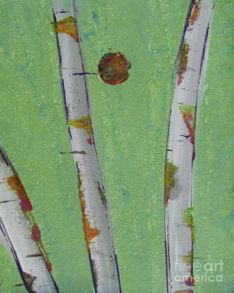 Painting - Birch - Lt. Green 1 by Jacqueline Athmann