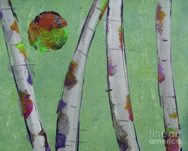 Painting - Birch - Lt. Green 3 by Jacqueline Athmann