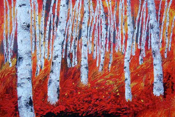 Wall Art - Painting - Birch In Gold by Leon Zernitsky