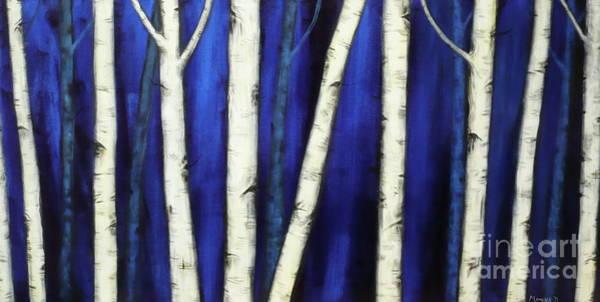 Painting - Birch Trees-3 by Monika Shepherdson