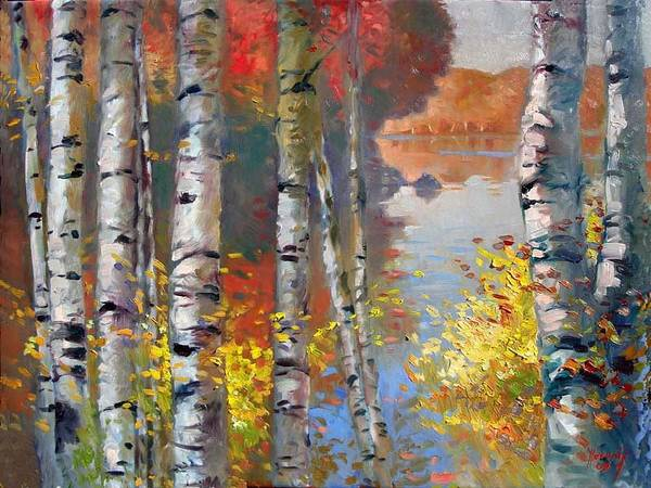 Wall Art - Painting - Birch Trees By The Lake by Ylli Haruni