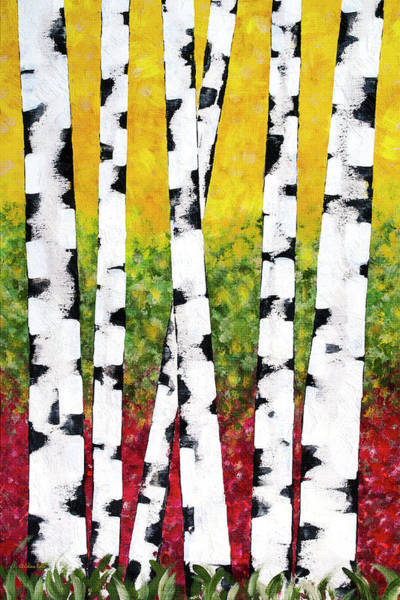 Mixed Media - Birch Forest Trees by Christina Rollo