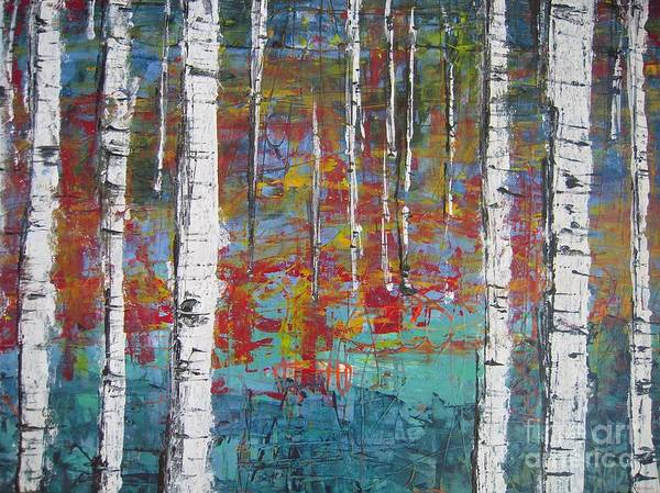 Recycle Painting - Birch Trees by Helvi Smith
