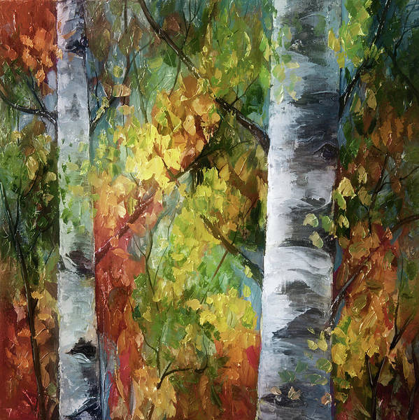 Painting - Birch Trees - IIi by OLena Art - Lena Owens