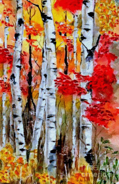 Digital Art - Birch Trees In Fall by Rafael Salazar