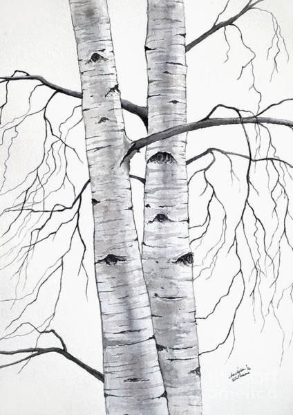 Painting - Birch Trees In Winter by Christopher Shellhammer