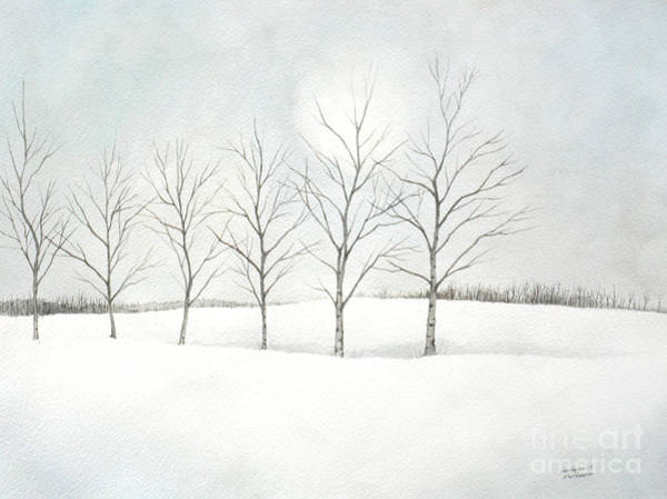 Painting - Birch Trees Under The Winter Sun by Christopher Shellhammer