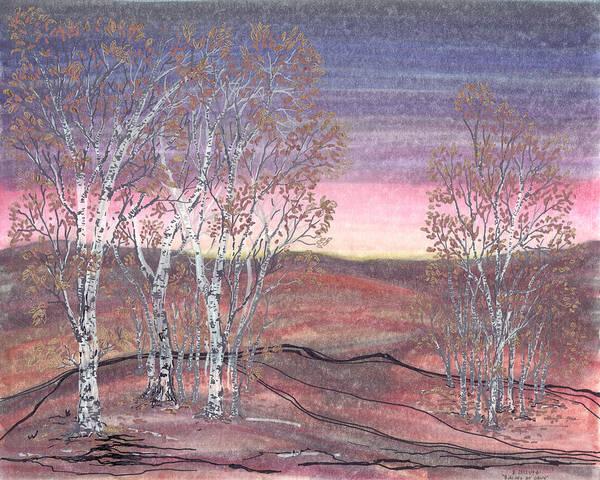 Drawing - Birches At Dawn by Regina Valluzzi