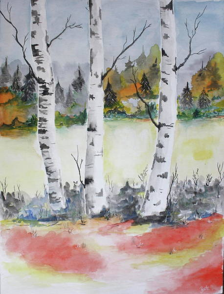 Wall Art - Painting - Birches by Barbara Teller