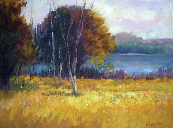 Black Buck Painting - Birches By The Lake by Kit Dalton