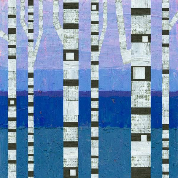 Graphic Digital Art - Birches With Blue And Lavender by Michelle Calkins
