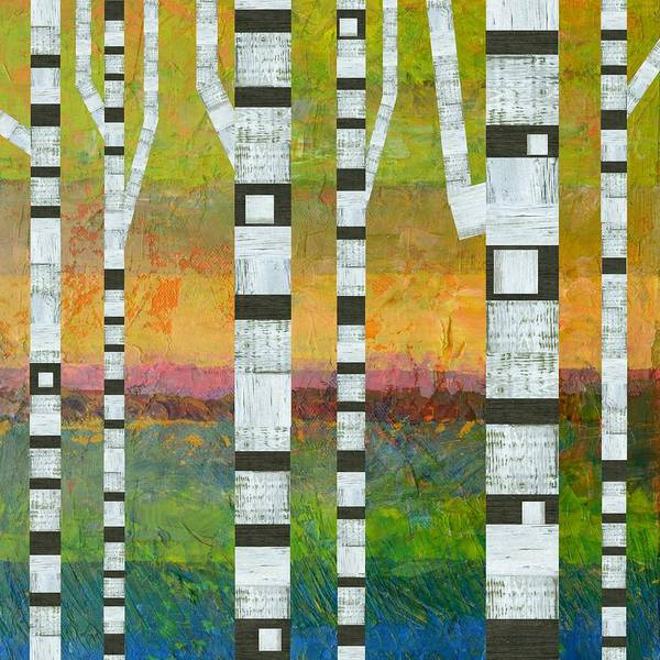 Graphic Digital Art - Birches With Olive And Orange by Michelle Calkins