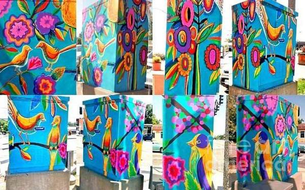 Wall Art - Painting - Bird And Floral Traffic Signal Box For University City by Genevieve Esson
