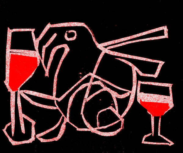 Digital Art - Bird And Wine by Artist Dot