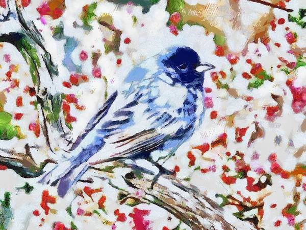 Digital Art - Bird Blue Fragmented by Catherine Lott