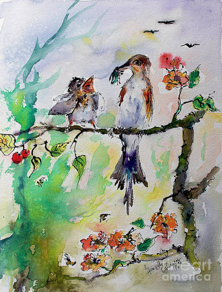 Painting - Bird Feeding Baby Watercolor by Ginette Callaway