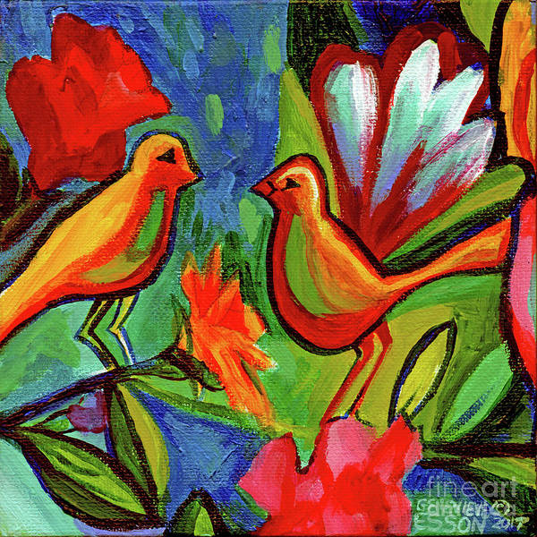 Wall Art - Painting - Bird Floral Diptych 1 by Genevieve Esson