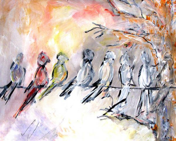 Wire Mixed Media - Bird Happy Hour by Renee Vandevere
