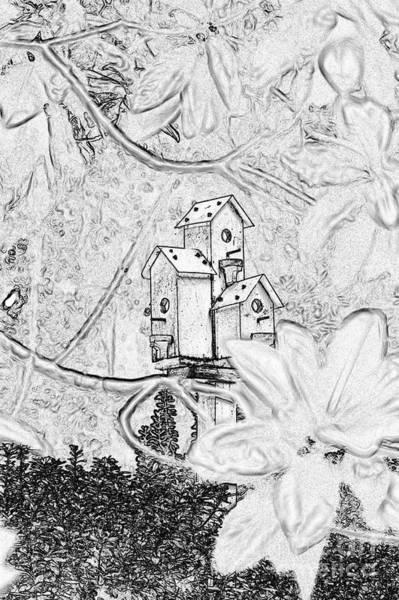 Digital Art - Bird Houses by Donna Bentley