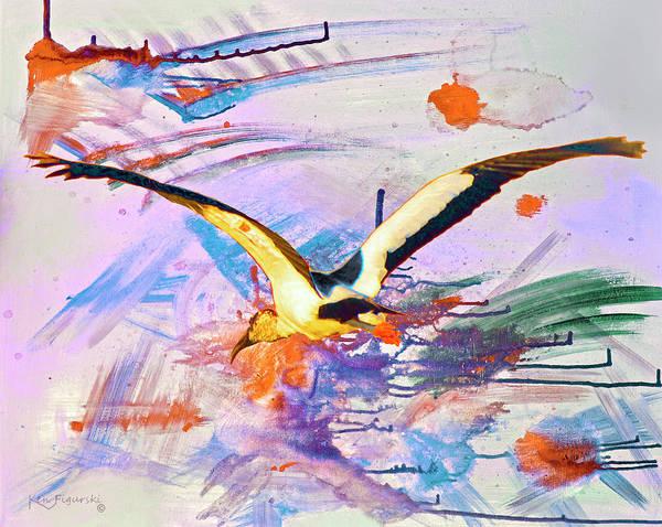 Great Blue Heron Mixed Media - Bird In Flight Modern Art by Ken Figurski