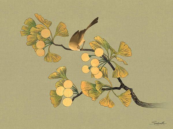 Wall Art - Digital Art - Bird In Ginkgo Tree by M Spadecaller