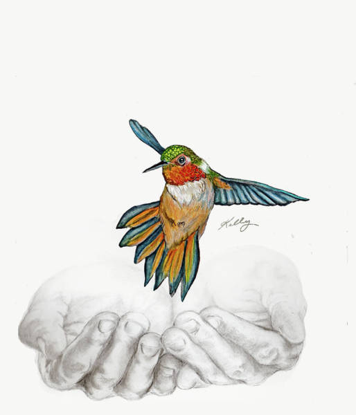 Vegan Drawing - Bird In Hand by Kathleen Kelly Thompson