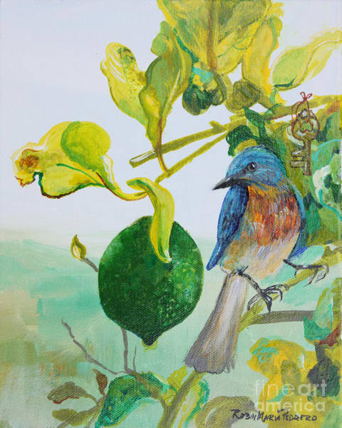 Painting - Bird, Key Lime  by Robin Maria Pedrero