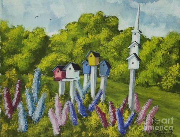 Birdhouse Painting - Bird Metropolis by Charlotte Blanchard