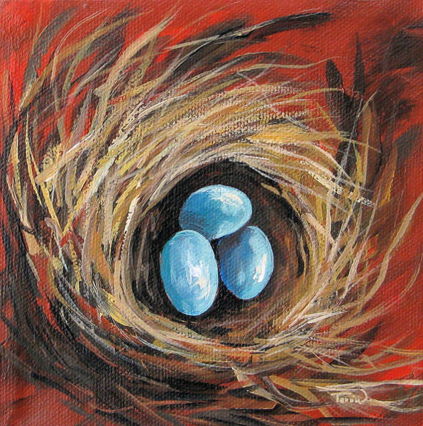 Bird Wall Art - Painting - Bird Nest On Red by Torrie Smiley