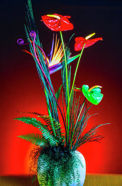 Vase Of Flowers Photograph - Bird Of Paradise And Anthuriums In Vase by Garry Gay