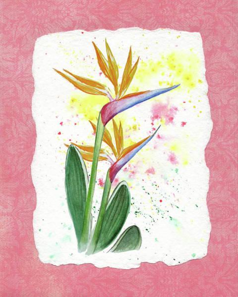 Bird Of Paradise Painting - Bird Of Paradise Watercolor Splashes by Irina Sztukowski